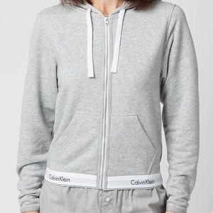 Calvin Klein grey and white zip up hoodie
